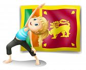 Illustration of a girl in front of the flag of Sri Lanka on a white background