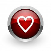 heart red circle web glossy icon