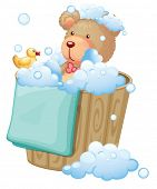 Illustration of a bear inside the pail full of bubbles on a white background