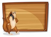 foto of ant-eater  - Illustration of a wild animal beside an empty board on a white background - JPG