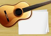 Illustration of a guitar with an empty bondpaper