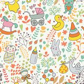 Childhood concept seamless pattern. Toys, animals, childish elements in vector. Cartoon background.