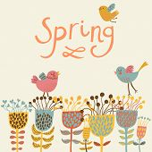 Spring flowers and birds. Cartoon floral background in vector. Spring concept card in bright colors