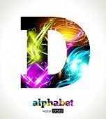 Vector Customizable Light Effect Alphabet. Design Abstract Letter D.