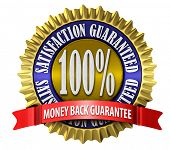 An illustration of a 100% satisfaction guaranteed seal on white.