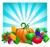 Glossy Vegetables on Bursting Background