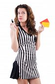 Woman referee with card on white
