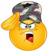 stock photo of army cadets  - Soldier emoticon saluting saying yes sir - JPG