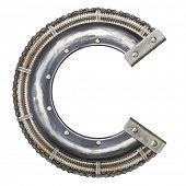 Industrial metal alphabet letter C