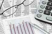 stock photo of depreciation  - a calculator is on a balance sheet numbers are statistics - JPG