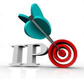 The letters IPO with an arrow in a target bull's eye, representing an initial public offering of a c