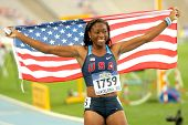 BARCELONA - JULY, 13: Erika Rucker of USA celebrating his medal during the 20th World Junior Athleti