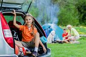 Summer camp, summer vacation - family on summer camp. Family adventure concept.