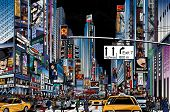 stock photo of cabs  - Vector Illustration of a street in New York city at night - JPG