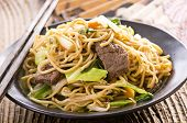 image of lo mein  - fried noodles with beef - JPG