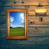 foto of exposition  - Idyllic landscape exposition on wooden wall - JPG