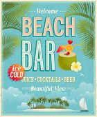 image of cocktails  - Vintage Beach Bar poster - JPG
