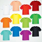 Colorful Blank T Shirt Collection. Vector Templates