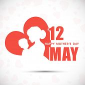 stock photo of mummy  - Silhouette of a mother and her child with text 12th May for Happy Mothers Day celebration - JPG