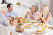 Family enjoying the thanksgiving dinner together