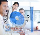 Business people using blue pie chart futuristic interface in a meeting