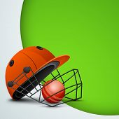 stock photo of cricket bat  - Sports concept with cricket helmet with ball on abstract green background - JPG