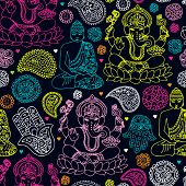 pic of indian elephant  - Seamless india travel icon hand drawn illustration background pattern in vector - JPG