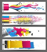 4 bright CMYK banners