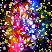 Bright colorful flying stars on a fantastic design background.