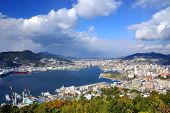 View of Nagasaki Bay, Japan.