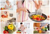 Collage of women cooking healthy food at home in the kitchen