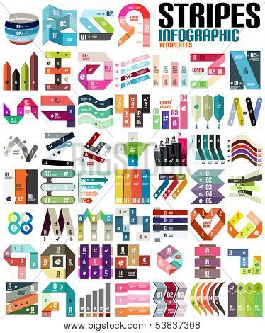 Big set of infographic modern templates - stripes, ribbons, lines. For banners, business backgrounds poster