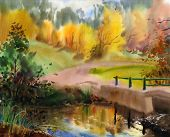 Autumn Landscape In The Country Painted By Watercolor