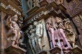 Human Sculptures Of Kandariya Mahadeva Temple, Khajuraho, India - Unesco World Heritage Site.