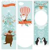 set of vertical Christmas banners