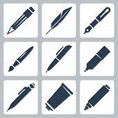 Vector Writing And Painting Tools Icons Set: Pencil, Feather, Fountain Pen, Brush, Pen, Marker, Mech