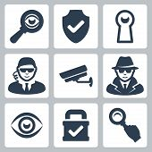 Vector Spy And Security Icons Set: Magnifying Glass, Shield, Heyhole, Security Man, Surveillance Cam