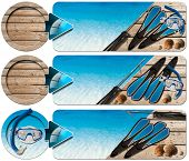 picture of spearfishing  - Set of spearfishing banners with blue water wooden floor with sand seashells flippers snorkel and mask for diving and spear gun - JPG