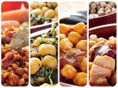 collage of different spanish legume stews, such as lentils, chickpeas and spinach, or white beans wi