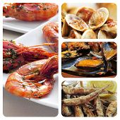 collage of different spanish seafood tapas, such as boquerones fritos, gambas al ajillo or mejillones a la marinera