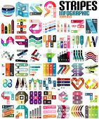 Big set of infographic modern templates - stripes, ribbons, lines. For banners, business backgrounds
