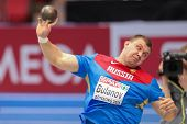 GOTHENBURG, SWEDEN - MARCH 1 Aleksandr Bulanov (Russia) places 6th in the men's shot put final durin