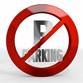 stock photo of posh  - Dark red posh metal 3d graphic with forbidden parking sign not allowed - JPG