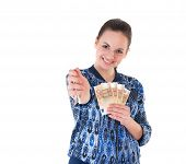 Woman With Keys And Money