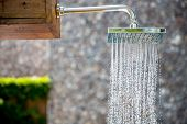 water from rain shower outdoor