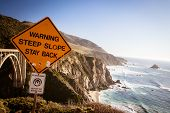 image of bixby  - A view of Bixby Bridge out to the Pacific Ocean near Big Sur California USA - JPG