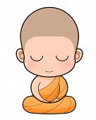 stock photo of cult  - Buddhist Monk cartoon illustration - JPG