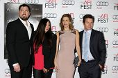 LOS ANGELES - NOV 12:  Marcus Luttrell, wife, Rhea Durham, Mark Wahlberg at the