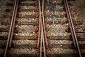 Detail shot of railway tracks