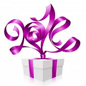 Vector purple ribbon in the shape of 2014 and gift box. Symbol of New Year